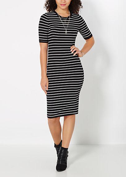 301099a88ec Striped Ribbed Knit Midi Dress