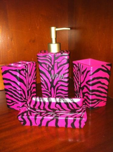 pink and black animal print bathroom accesories
