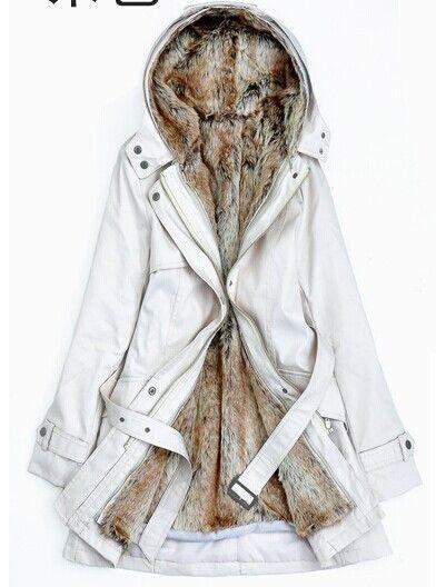 2015 Faux fur lining women's fur Hoodies Ladies coats winter warm ...