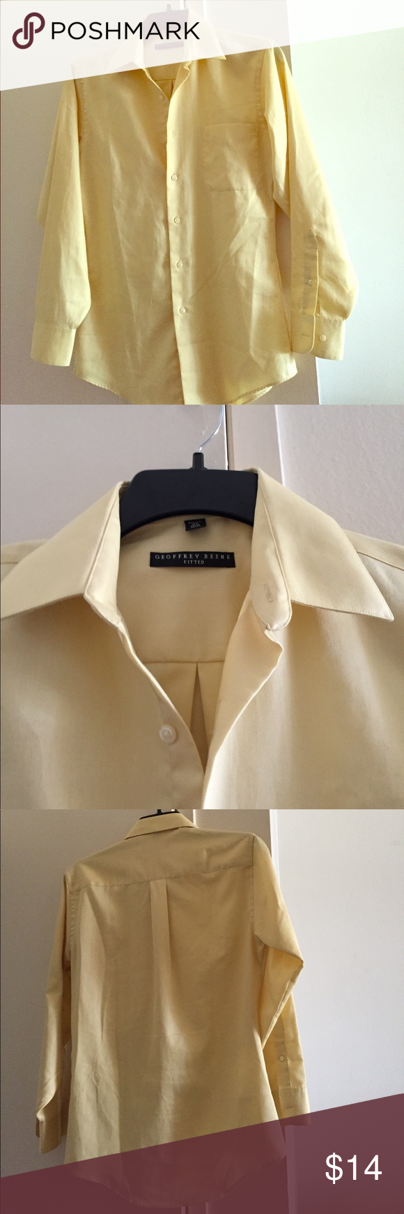 Yellow dress shirt men  Geoffrey Beene menus shirt  Geoffrey beene shirts Dress shirts and