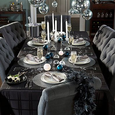 Black Silver New Year S Eve Celebration Table New Year Table Party Table Decorations Winter Table Decorations