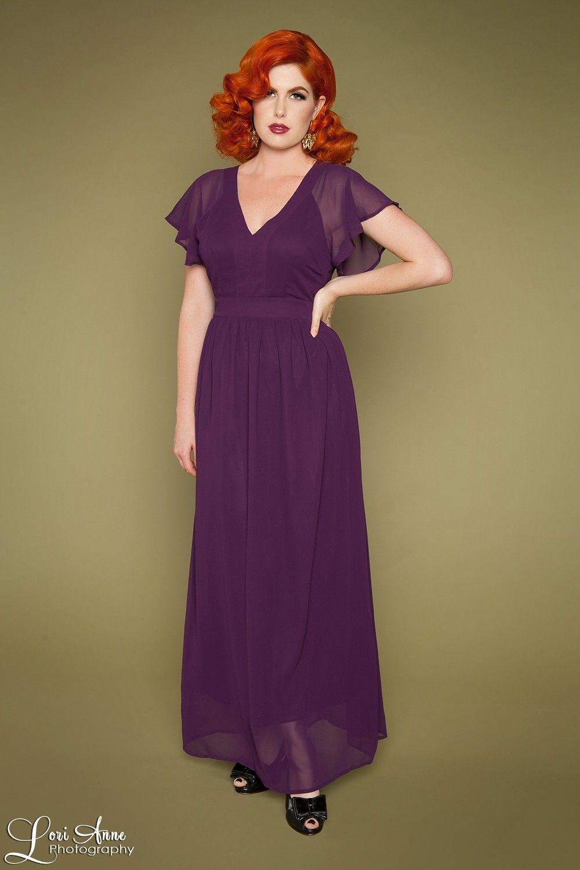 Lana long dress in purple pinup girl clothing maxi dress