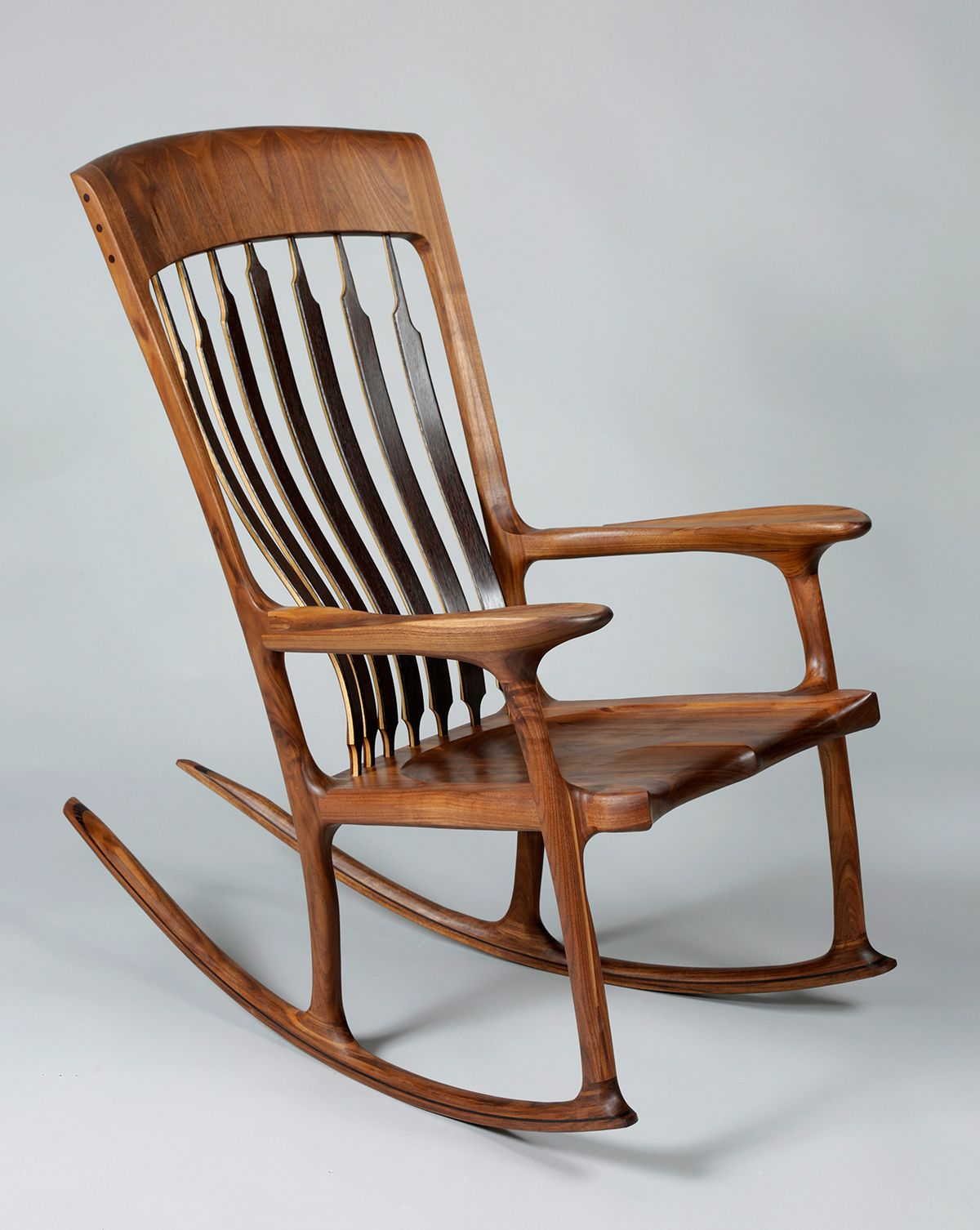 Sculpted Maloof Style Rocking Chair Made By North Carolina