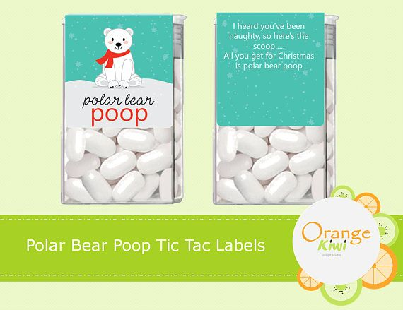 Stocking Stuffers Polar Bear Poop 14 CT Printed Labels Tic Tac Stickers Christmas Tic Tac Labels Christmas Party Favors