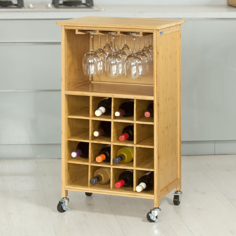 SoBuy® Estante de vino para 16 botellas botellero, carrito de cocina ...