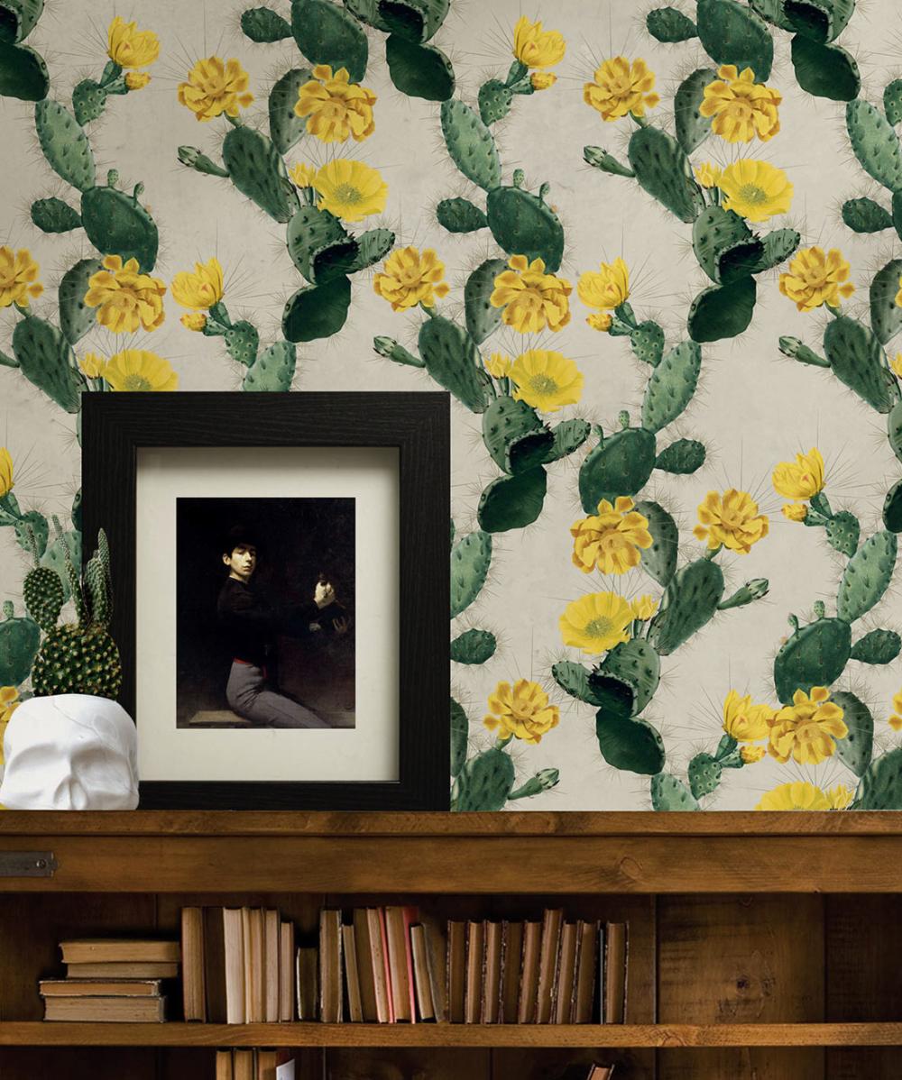 Alluring Cactus Wallpaper • Bold Bright Cacti Design in