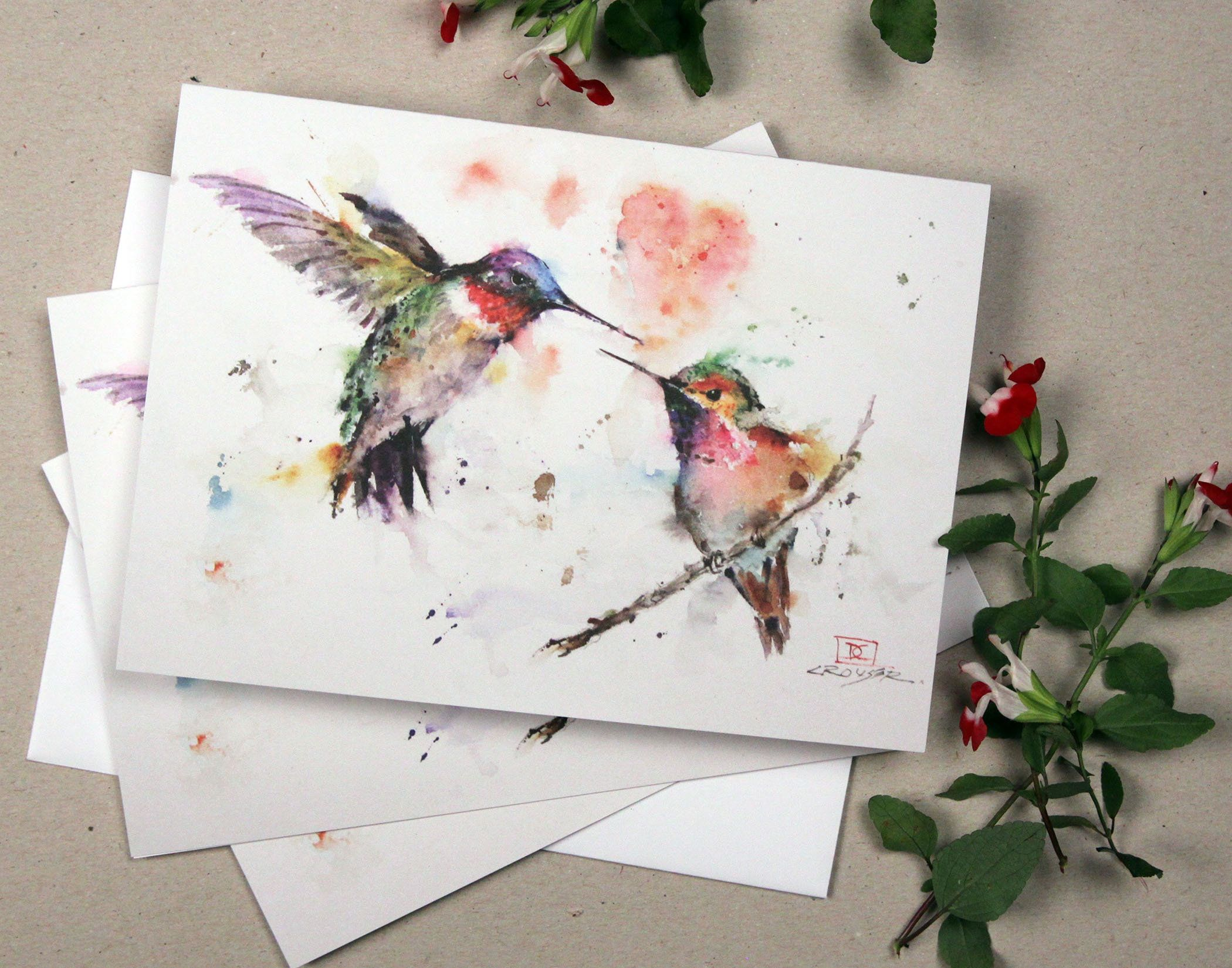 The Lovebirds Hummingbird Greeting Cards Sets Watercolor Bird