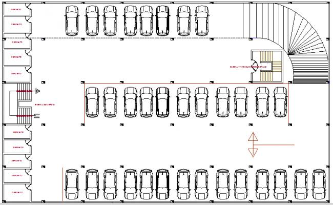 Basement Car Parking Lot Floor Plan Details Of Multi Purpose Building Dwg File Parking Design Parking Building Car Parking