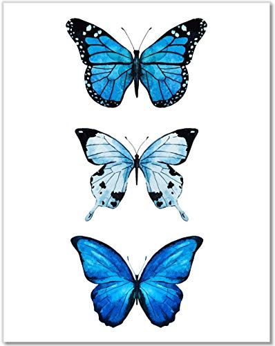 Butterfly Wall Decor- 3 Blue Butterflies Watercolor Art P ...