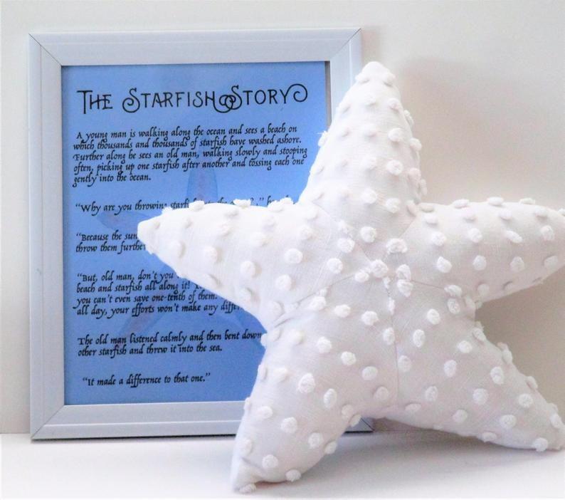Small Starfish Pillow Chenille Pillows Nautical Decor Beach Pillows Nautical Baby Shelf Sitters Beach Pillows Starfish Pillow Nautical Decor