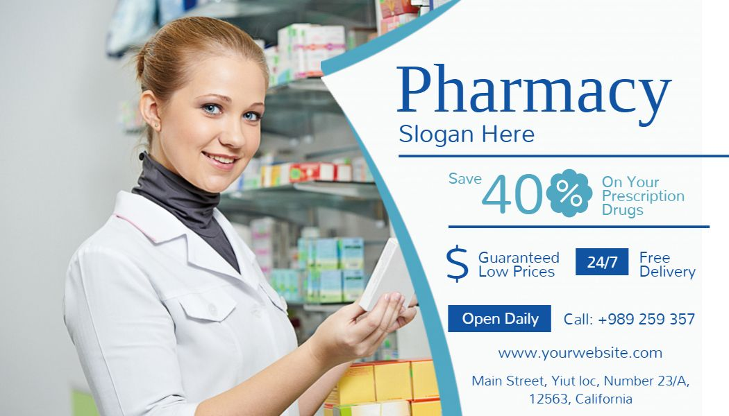 Pharmacy Landscape Business Card Medical business card