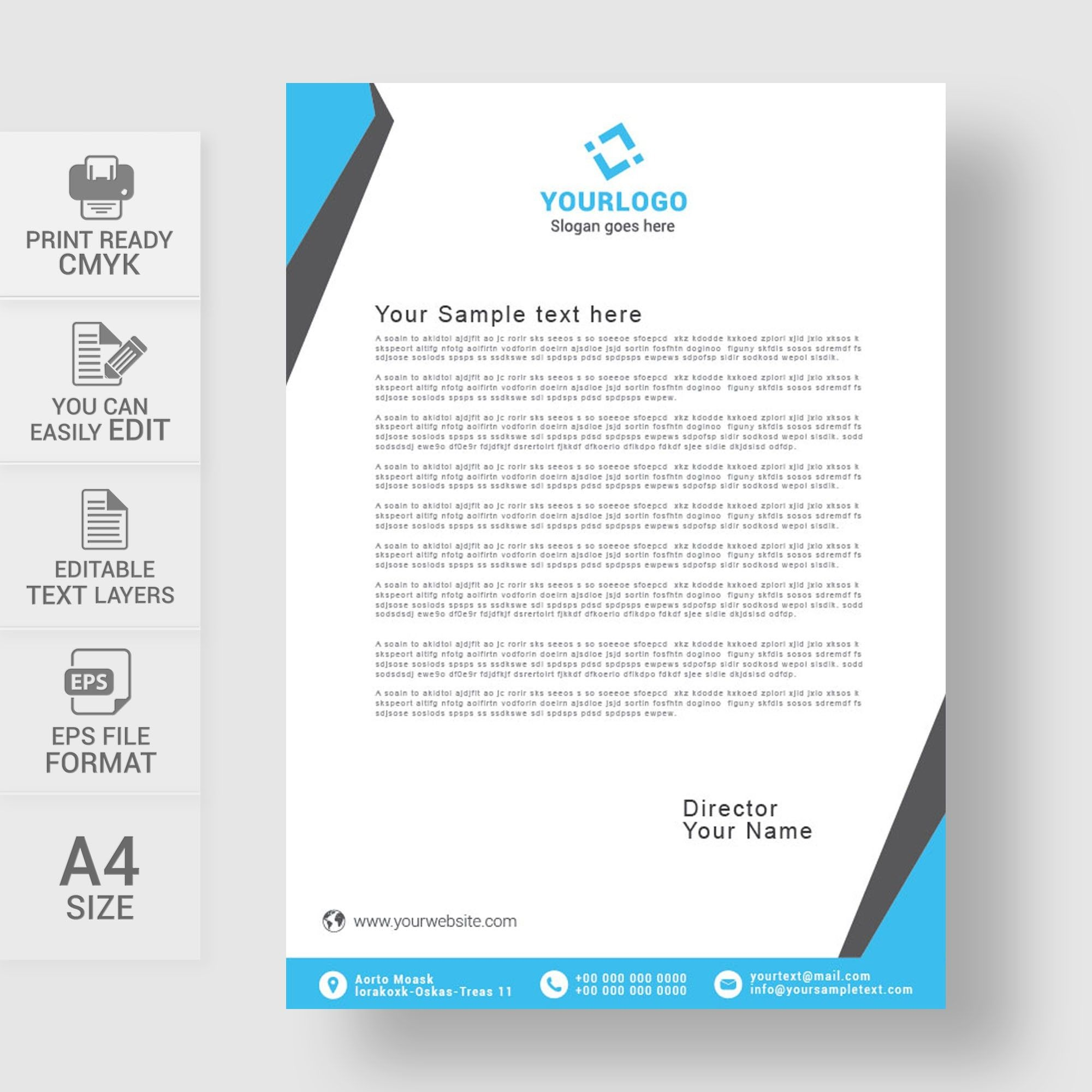 High Quality Letterhead Stationary Template 000609