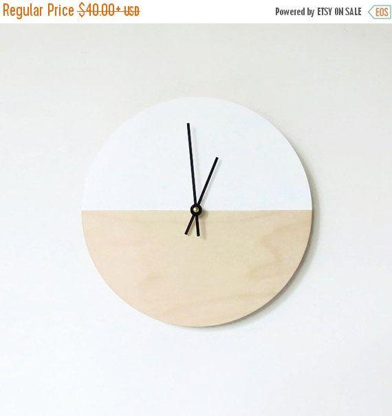 Vente horloge murale art minimaliste tendance bois par shannybeebo