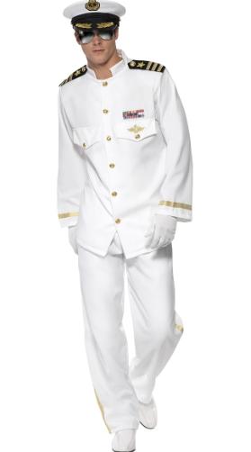 Adults Adult Naval Officer Navy Captain Hat T-Shirt Fancy Dress Costume Set