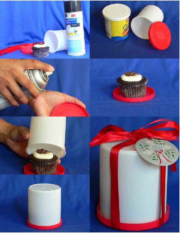 Cupcake Gift Container Just An Empty Icing Can And Some Ribbon So Many Possibilities Gift Containers Cupcake Gift Christmas Crafts
