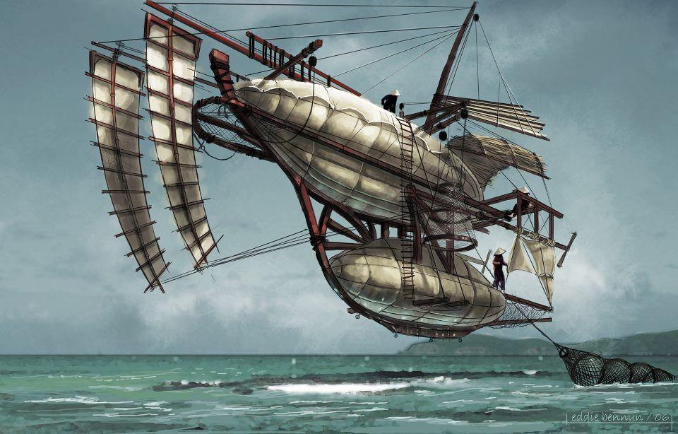 Fishermans Boat by Eddie Bennun (c) 2006 Eddie Bennun via https://eddiebennun.artstation.com/portfolio/steampunk-flying-ships-2006-personal-project