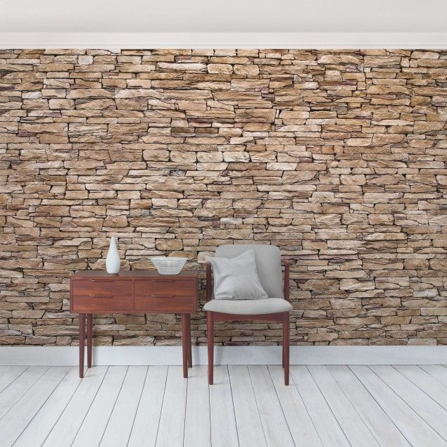 Tapete Steinwand - Vliestapete Crete Stonewall - Fototapete Breit - retro tapete wohnzimmer