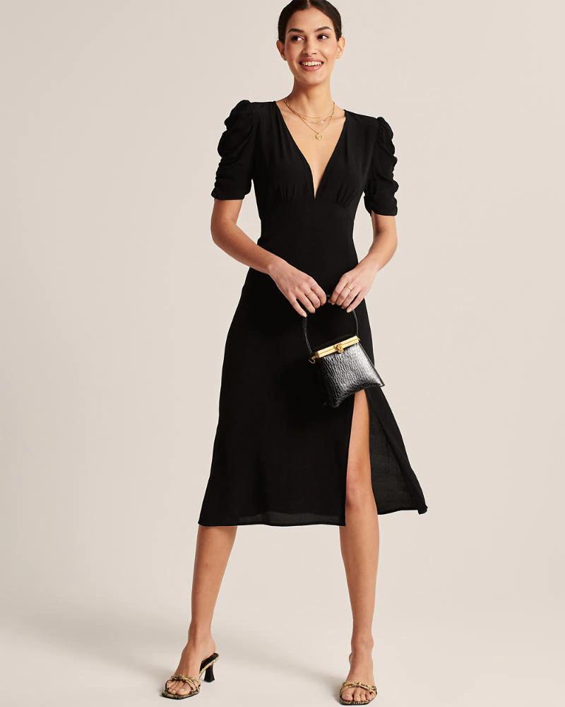 Womens Cinched Sleeve Midi Dress Womens Dresses Jumpsuits Abercrombie Com Midi Dress With Sleeves Womens Midi Dresses Womens Dresses [ 1000 x 800 Pixel ]