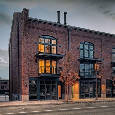 Beautiful brick warehouse facade   I like the steel accentsvegas facade design   Google Search   Shop Entrance   Pinterest  . Brick Apartment Building Entrance. Home Design Ideas