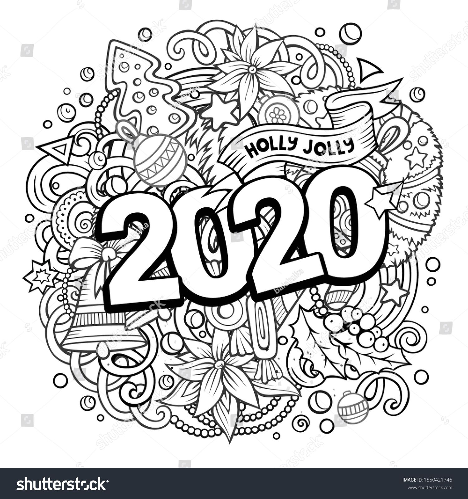 2020 Hand Drawn Doodles Illustration New Year Objects And Elements Poster Design Creative Cartoon Doodle Illustration Love Coloring Pages Doodle Art Designs