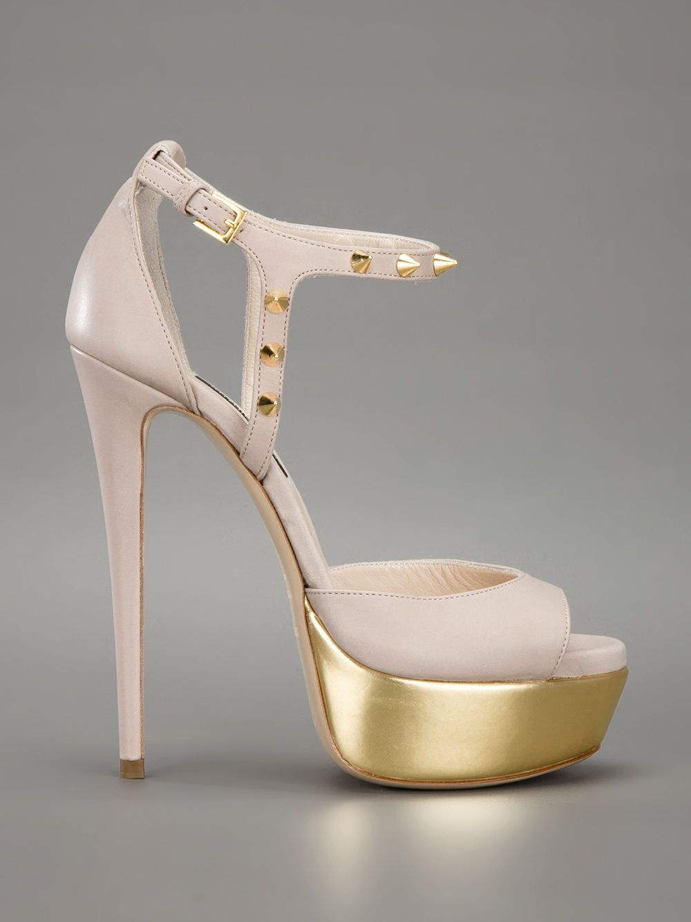 RUTHIE DAVIS - Sandália nude e dourada. 7