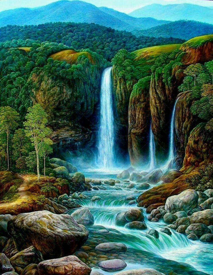 Beautiful Waterfall Waterfall Paintings Dream Landscape Landscape Art Painting
