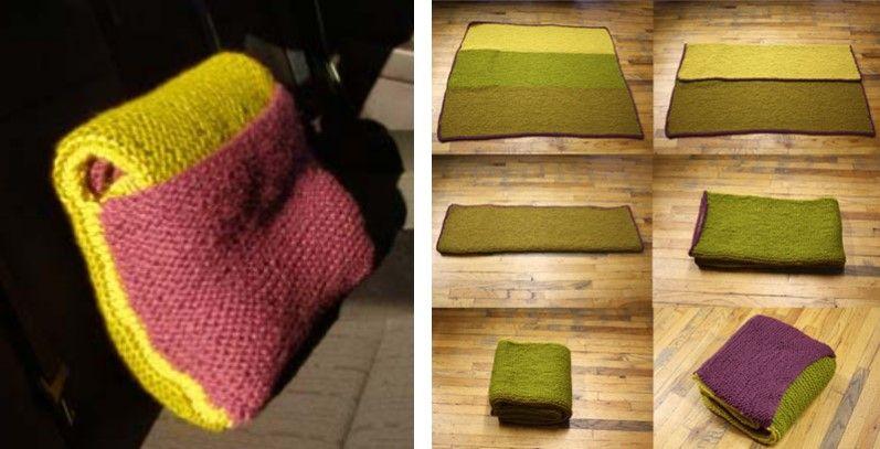 Practical Knitted Car Blanket Cum Pillow Free Knitting Pattern