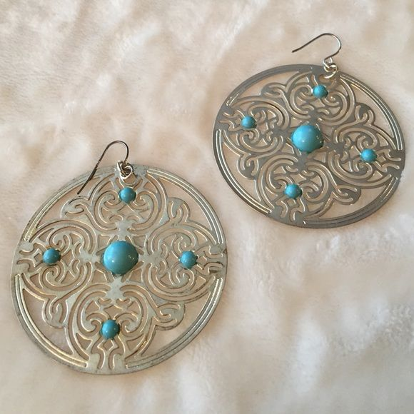 """Large Round Earrings with Intricate Design These are 2.25"""" in diameter, great for a bold statement!  Very lightweight. Lovely turquoise-colored plastic beads. Would blend well with a boho chic outfit. These are costume jewelry, not real silver and turquoise. Jewelry Earrings"""