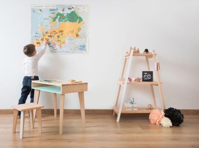 Bureau enfant bois colore paulette et sacha