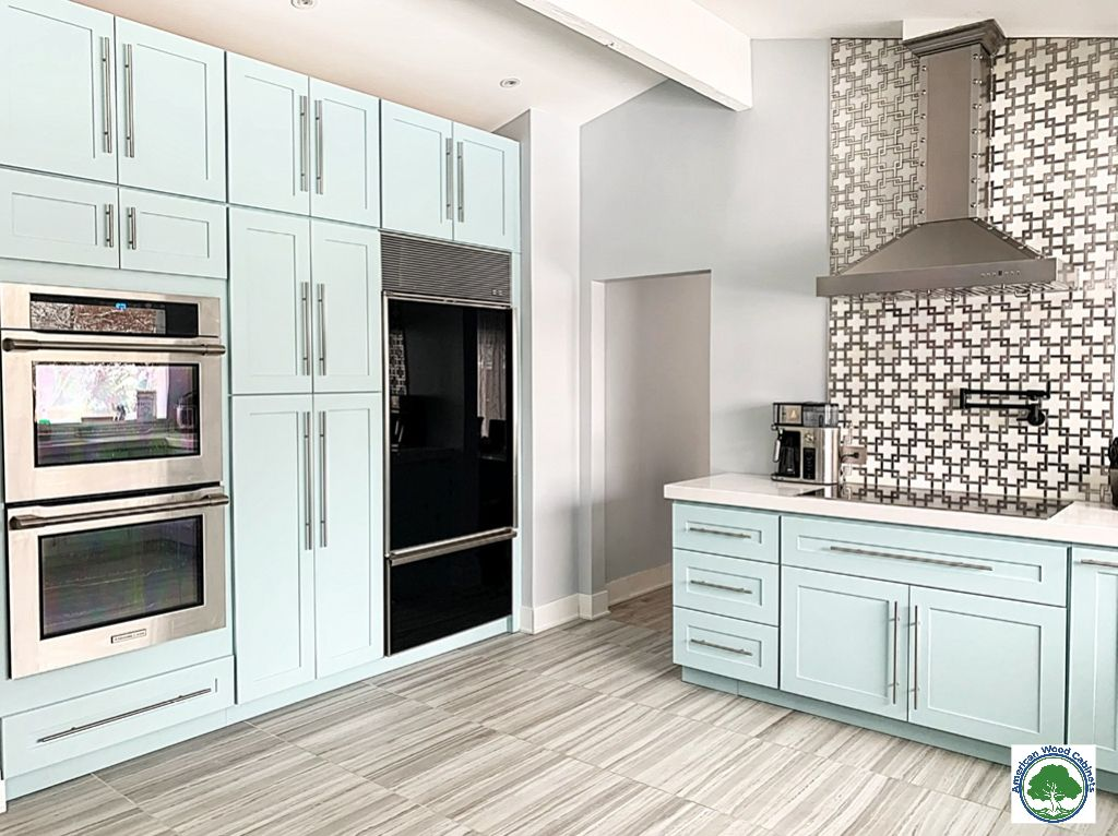 Shaker Style Kitchen Cabinets In Aruba Blue Color Shaker Style Kitchen Cabinets Kitchen Cabinets Solid Wood Kitchen Cabinets