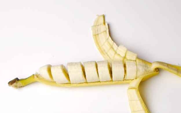 Peel a banana to reveal it's pre-sliced.