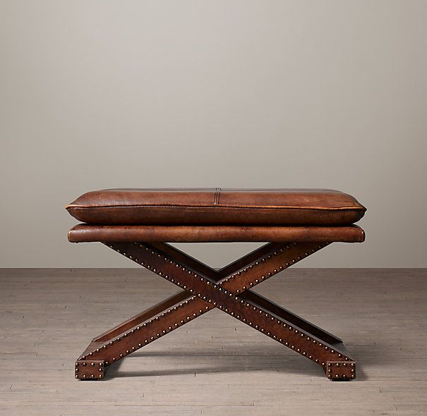 Leather X Base Stool End Of Bed Seating Living Room Stools Stool