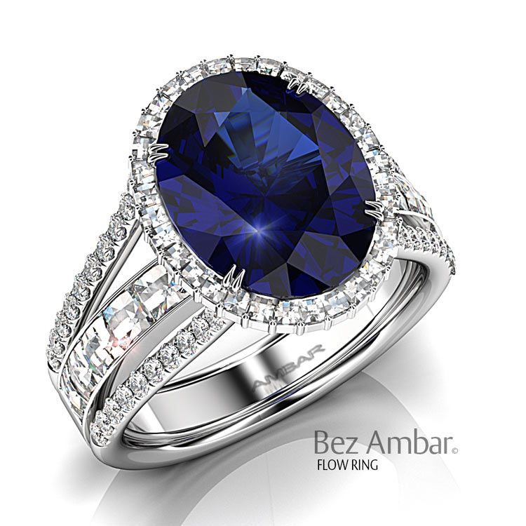 Breathtaking split shank halo engagement ring for blue - sapphire oval. An innovative new design that combines small Blaze frame and larger Blaze under the center stone.