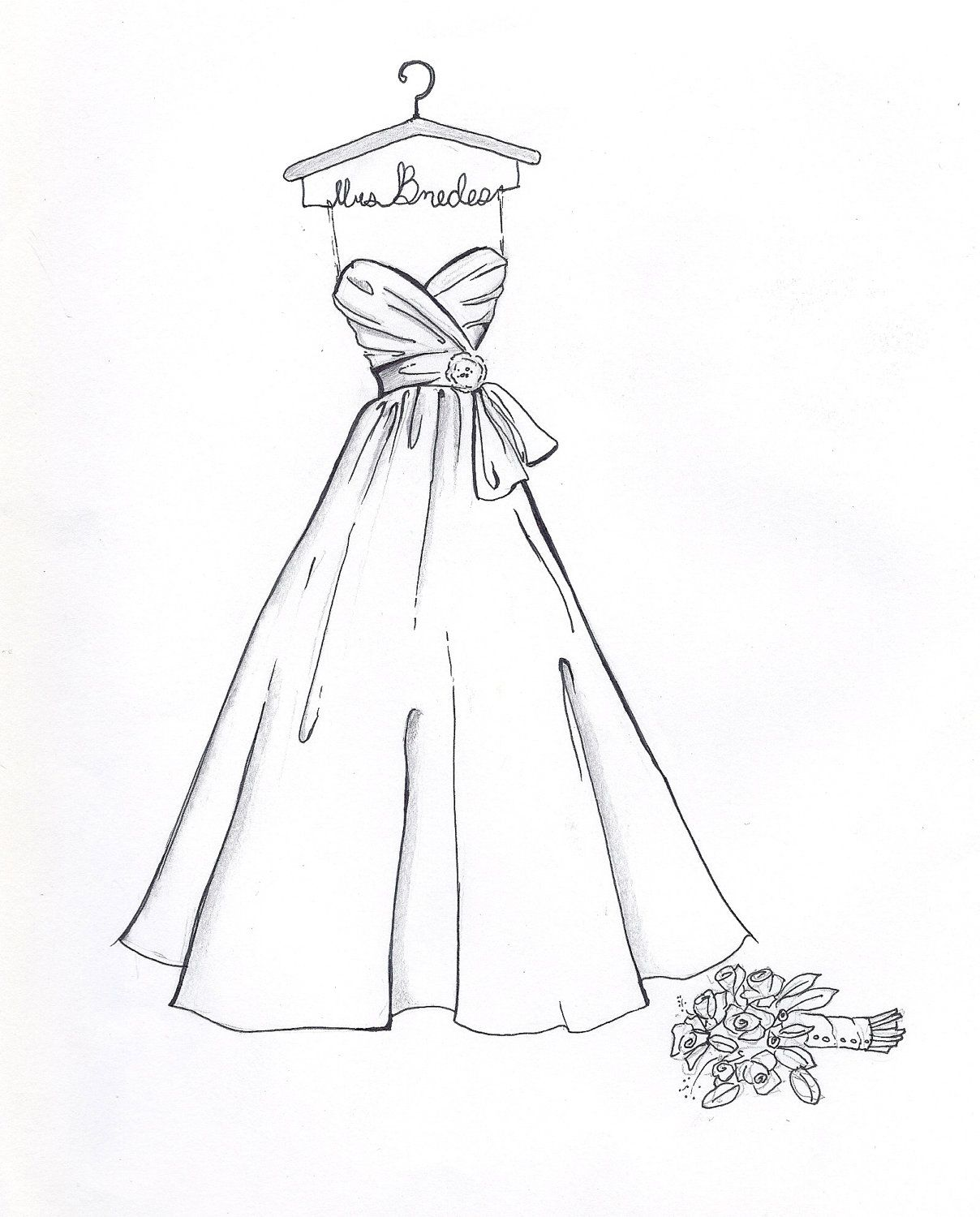 custom wedding dress sketch by drawthedress on etsy 50 00 mode