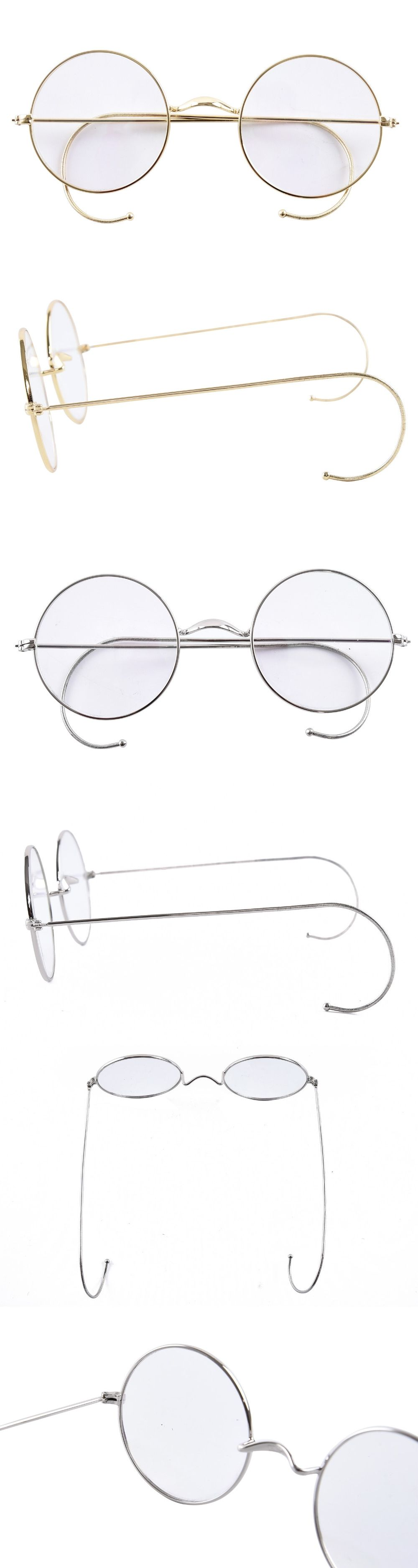 97efa5620a01 Agstum 47mm Round Optical Rare Wire Rim Prescription Harry Potter Style  Eyeglasses Frame Without Nose Pads