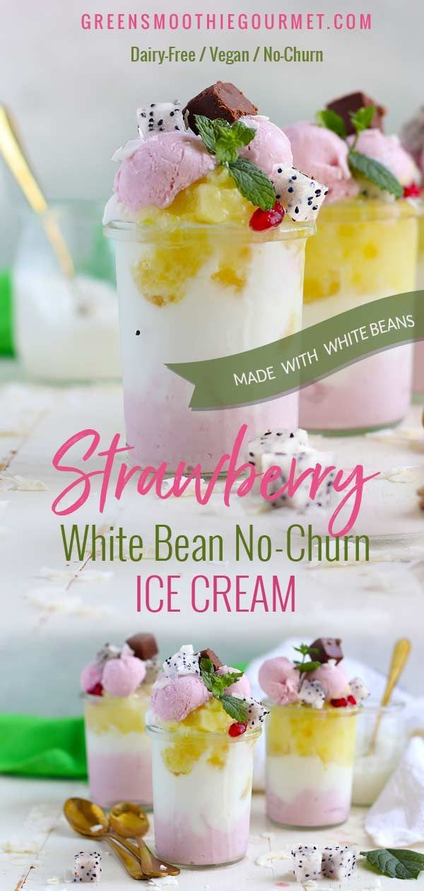 Strawberry White Bean No Churn Ice Cream Dairy Freevegan