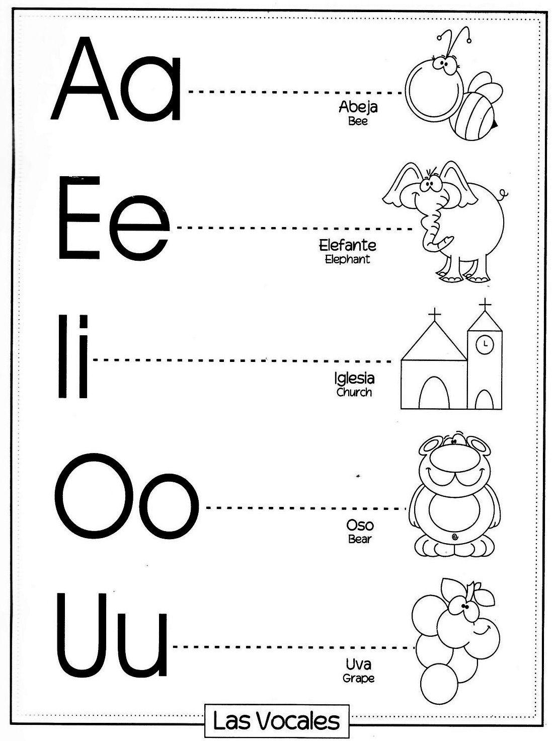 Dibujos Para Pintar Vocales Material Didáctico Kids Writing