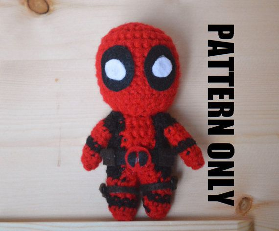Deadpool häkeln Muster. PDF, Lernprogramm, Deadpool Plushie ...