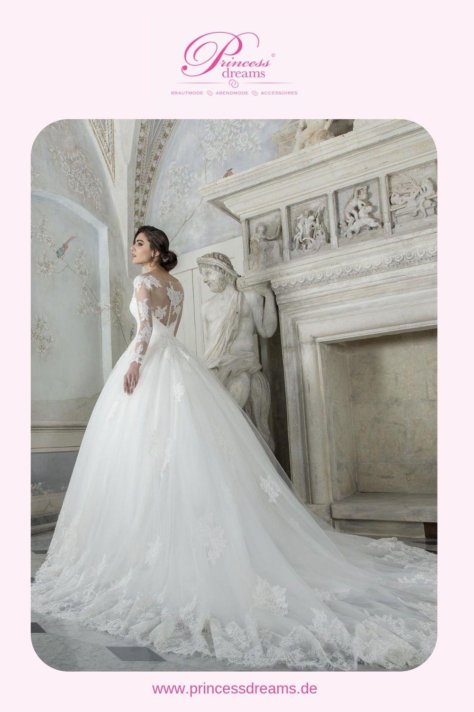 Brautkleid Prinzessin mit Spitze und langen Ärmeln bei Princess