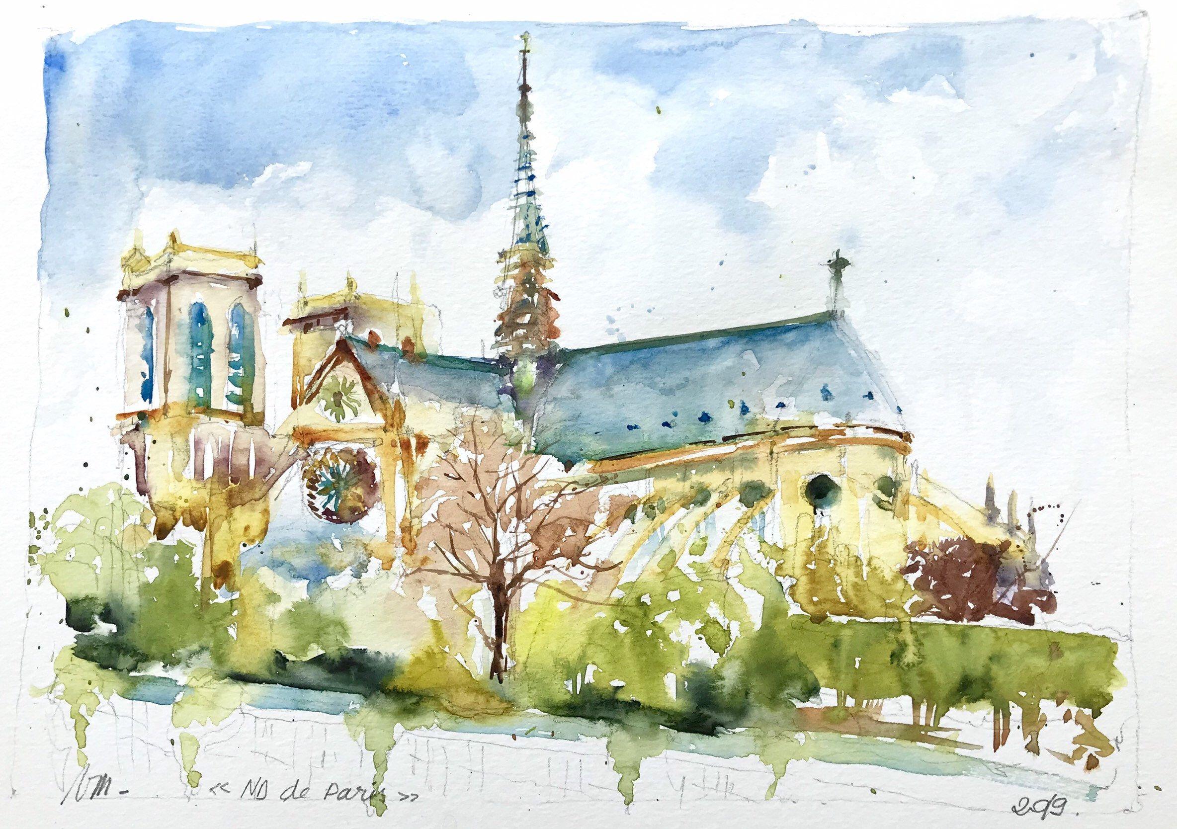 Aquarelle Peinture Originale Notre Dame De Paris Cathedrale