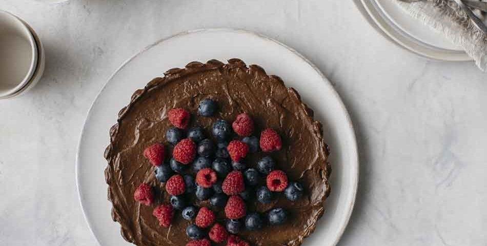 Golden door avocado and cacao tart food processor