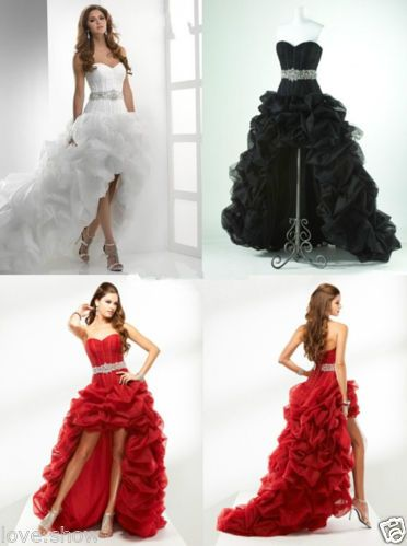 New Organza White Black Red Bridal High Low Wedding Dresses Size Custom 1752bd86ddcb