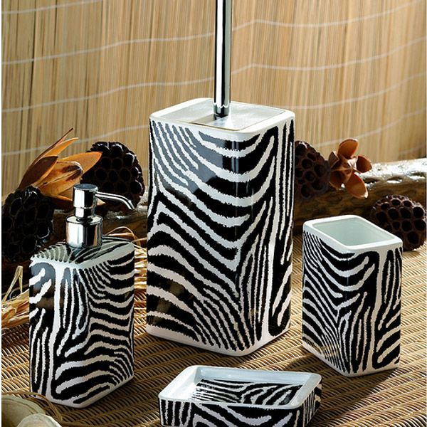 Safari Zebra Black And White Bath Accessories By Nameeks Bathroom