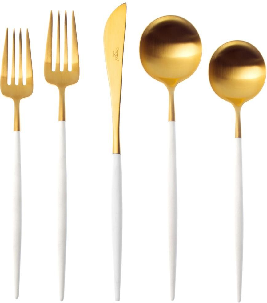 Goa Cutlery - Brushed Gold and White Handle - 5pc