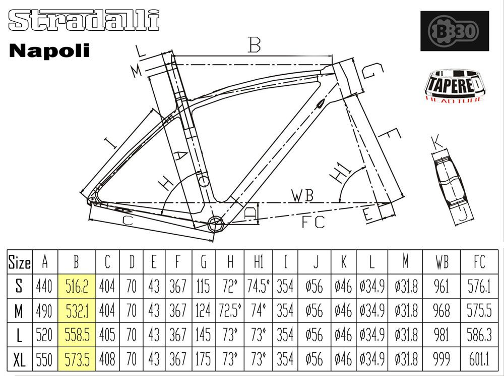 Stradalli Napoli Geometry and Size Chart | Napoli | Bike