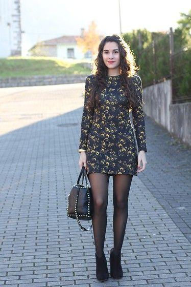 0df79bd15 Vestido corto manga larga medias negras y botines | moda | Vestido ...
