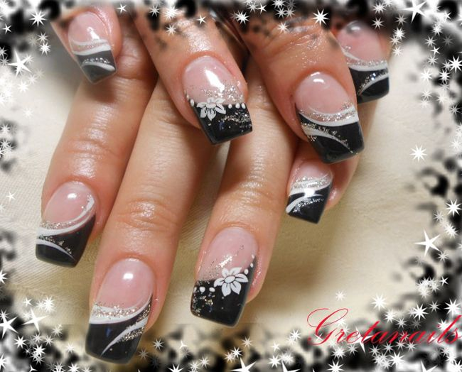 Best Nail Art Black And White Paint Jpg 650