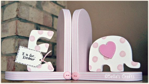 Personalised Elephant Bookends for children. Set of 2 bookends, one with a personalised initial another one with an elephant.