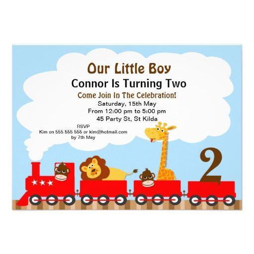 Boy S 2nd Birthday Train Invitation