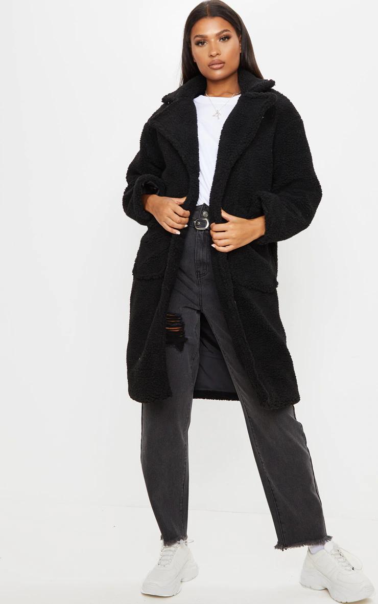 Black Borg Longline Coat Coats Jackets Prettylittlething Usa Longline Coat Cropped Faux Fur Coat Coats Jackets Women [ 1180 x 740 Pixel ]